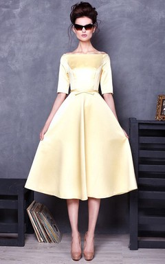 Bateau Half Sleeve Satin Knee-Length Dress