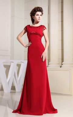 Refined High-Neck Caped-Sleeve Dress With Lace and Brush Train