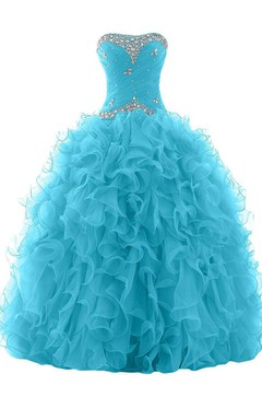 Luxurious Organza Ball Gown With Rhinestones