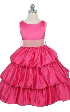 Sleeveless Bateau-neck Tiered Ruffled Dress