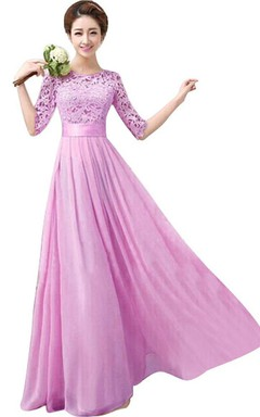 Half-sleeved Long Dress With Appliqued Bodice