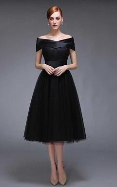 Off The Shoulder V Neck A-line Knee Length Tulle Dress