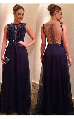 Elegant Beadings Lace Appliques Evening Dress 2016 A-line Floor-length