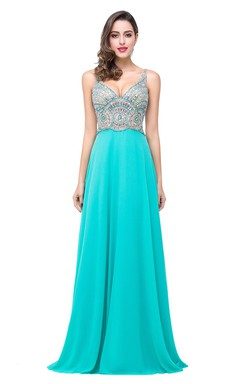 Newest Crystals Spaghetti Strap 2016 Prom Dress Open Back A-line