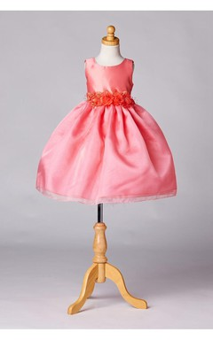 Sleeveless Jewel Neck Pleated Organza Layered Skirt With Satin Sash and Bow