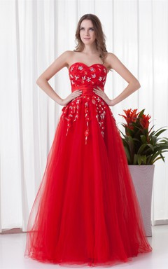 flamboyant a-line sweetheart dress with tulle overlay and rhinestone
