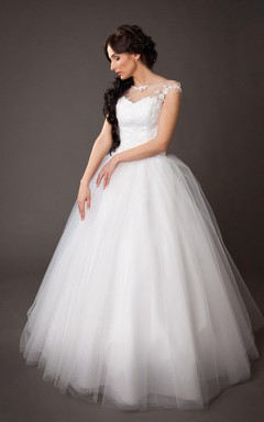 Vintge Bateau Neck Cap Sleeve Tulle Ball Gown With Lace Corset Top