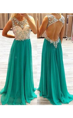 Newest Illusion Crystals Chiffon Evening Dress 2016 Zipper Sweep Train
