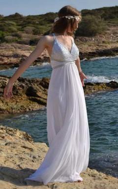 Plunged Sleeveless Chiffon Empire Wedding Dress With Beading And Draping