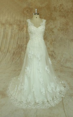 Ivory A Line Formal Vintage Lace Wedding With Scallop Neckline Dress