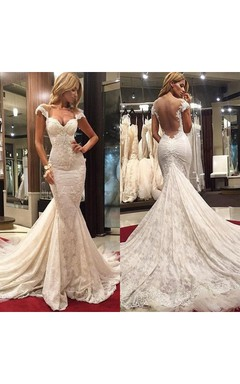 Delicate Mermaid Lace Appliques Wedding Dress 2016 Court Train