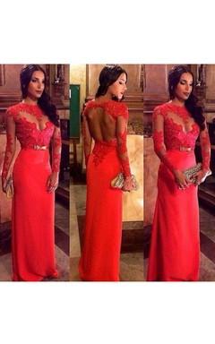 Floor-length Long Sleeve Chiffon Lace Keyhole Dress