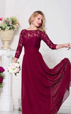 Illusion 3/4 Sleeve Lace Top Chiffon MOB Dress