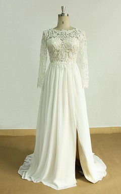 A-Line Chiffon Lace Satin Weddig Dress