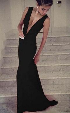 Secy Black Deep V-Neck Prom Dresses 2016 Sleeveless Mermaid Long