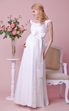 Scoop Cap-sleeved Empire Lace Long Dress With Satin Bow