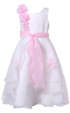 Sleeveless A-line Tiered Dress With Flowers