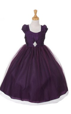 Short-sleeved Square-neck A-line Pleated Dress With Beadings