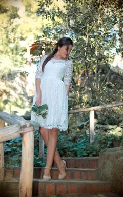 Jewel Half Illusion Sleeve A-Line Anckle-Length Lace Wedding Dress