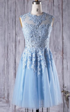 A-line Short Knee-length Tulle&Lace Dress With Illusion