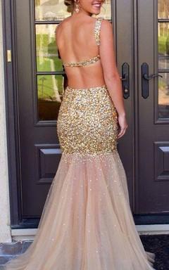 Glamorous Sleeveless Crystal Prom Dresses 2016 Mermaid Backless Tulle Evening Dress
