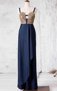 Floor-length Backless Satin Dress With Sequins
