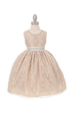 Solid Lace Sleeveless Scoop Neck Pleated Flower Girl Dress With Removable Rhinestone Belt