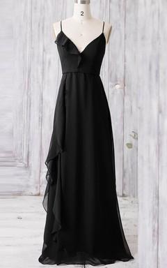 Floor-length Spaghetti Strapped V-neck Chiffon Dress With Ruffles