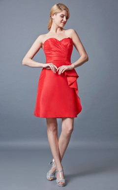 Strapless Sweetheart Short Satin Dress With Ruching