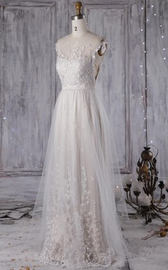 A-Line Sweetheart Tulle Lace Dress With Beading Illusion