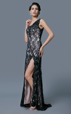 Sexy Lace Formal Dress One Shoulder Slit Skirt Stunning Beadwork Sophisticated