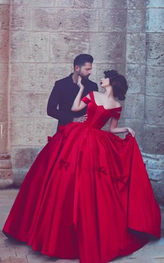 Newest Red Bowknot Ball Gown Evening Dress 2016 Off-the-shoulder Floor-length