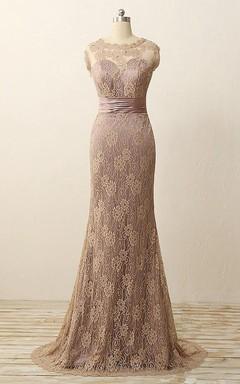 Trumpet Maxi Sleeveless Pleats Beading Lace Satin Dress
