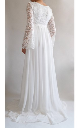 215125ec2f4 ... Lace Long Bell Sleeve Square Neck Empire Waist Chiffon Dress