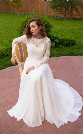 Long sleeved wedding gowns bridals dress with sleeves june bridals long sleeve chiffon lace satin weddig dress junglespirit Gallery