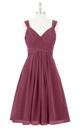 f71c67fa61a V-Neck A-Line Chiffon Sleeveless Dress With Ruching and Pleats ...