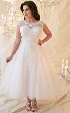 2468bbe48b2 A-Line Tea-Length Scoop-Neck Cap-Sleeve Lace Tulle Plus Size Wedding ...