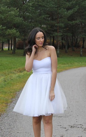 Strapless Short A-Line Tulle Wedding Dress With Pleats