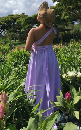 Sea Ranch Wisteria High Low Cut Long Octopus Convertible Wrap Gown Lavender Maxi Maternity Dress