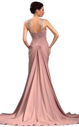 Jeweled-neck Front Slit Ruched Chiffon Gown
