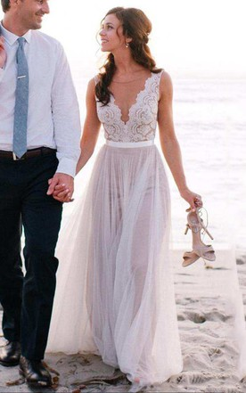Sleeveless V Neck A Line Long Tulle Dress With Lace Top