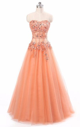 Sweetheart Sleeveless Appliques Long Tulle Lace Dress