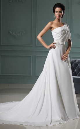2253570e8a Ethereal A-Line Chiffon Gown With Sating Sash And Ruching ...