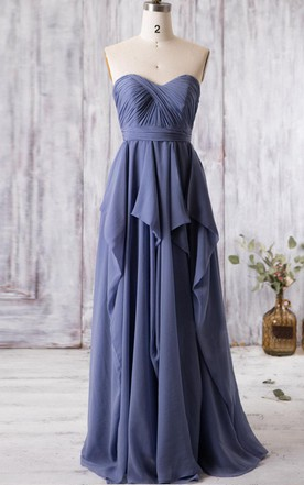 17161aa02ac Sweetheart Empire Pleated A-line Chiffon Long Dress With Ruffles and  Keyhole ...