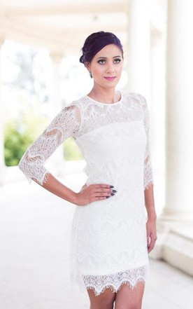 Sheath Short Lace Dress With Illusion Back