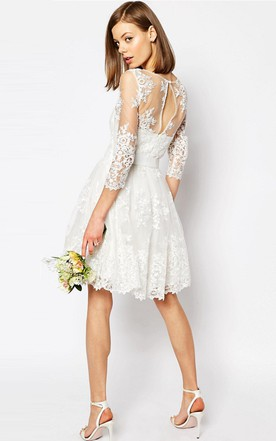 A Line Scoop Neck Long Sleeve Short Lace Wedding Dress With Keyhole