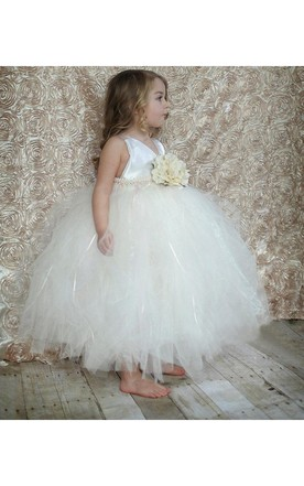 Beautiful V-neck Ruffled Tulle Ball Gown With Flower and Beading Waist