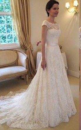 ea7f0ee9c282a ... New Arrival Lace A-line Princess Wedding Dresses 2018 With Cap Sleeves