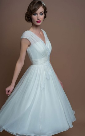 Cheap Mid Length Bridals Dresses, Tea Wedding Dress Cheap - June Bridals