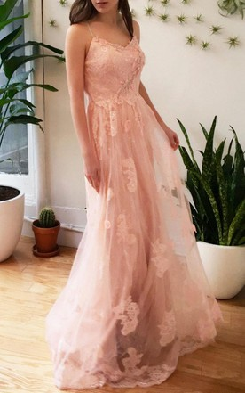 Romantic Pink Floral Lace Wedding Boho Garden Style Dress